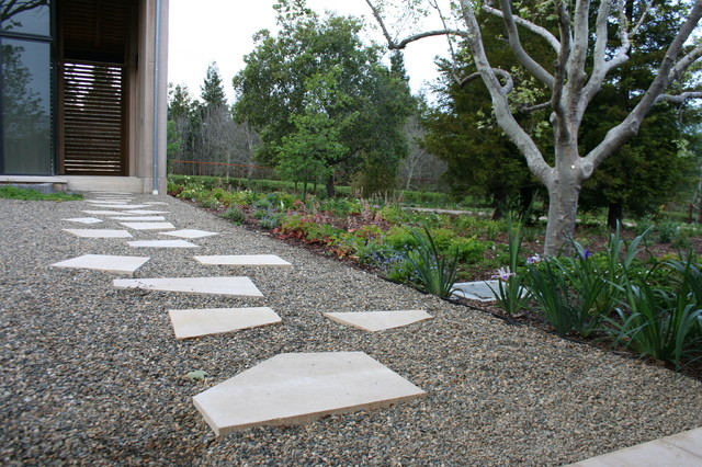 garden ideas to replace grass stones pea gravel and step stones home design ideas pictures