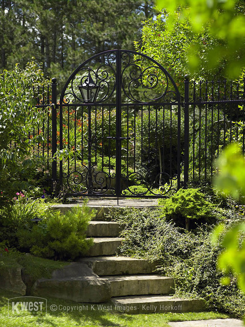 Wrought Iron Garden Gate Traditional Landscape
