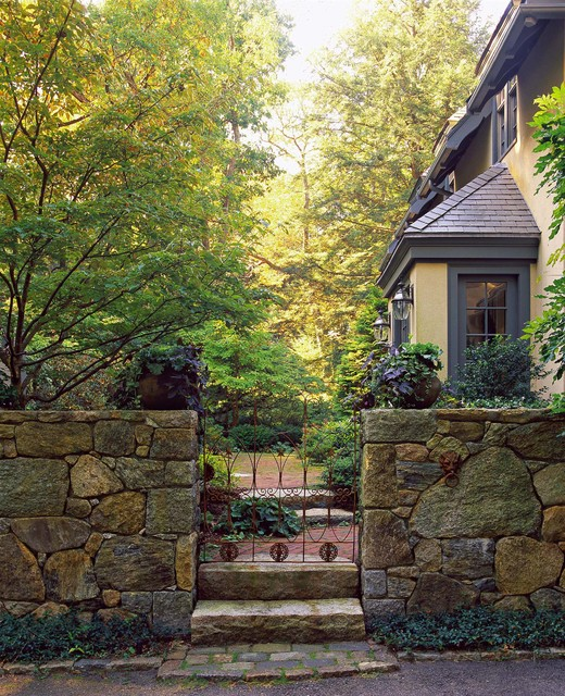 Modern Or Rustic Front Landscape Design: Wrought-Iron Gate And Brick Path