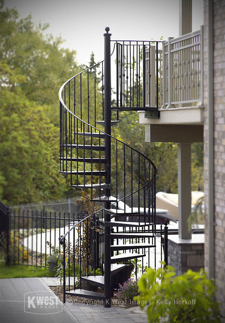 Wrought Iron Spiral Staircase Modern Landscape