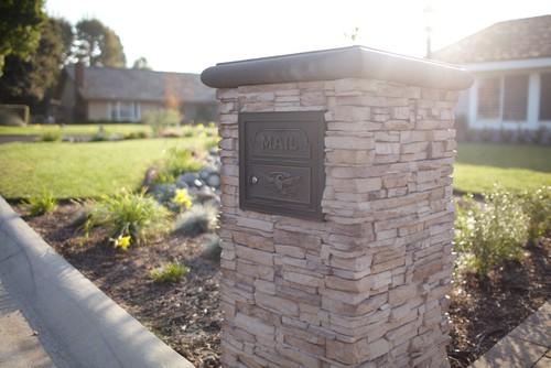 Yorba Linda Stacked Stone Mailbox
