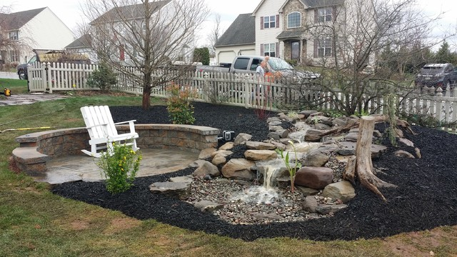 york pa pondless water feature and patio landscape