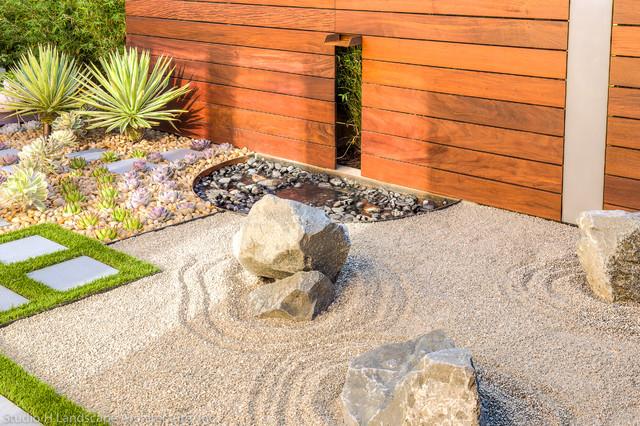 Zen Garden Waterfall Feature + Integrated Wall Light Contemporary Landscape