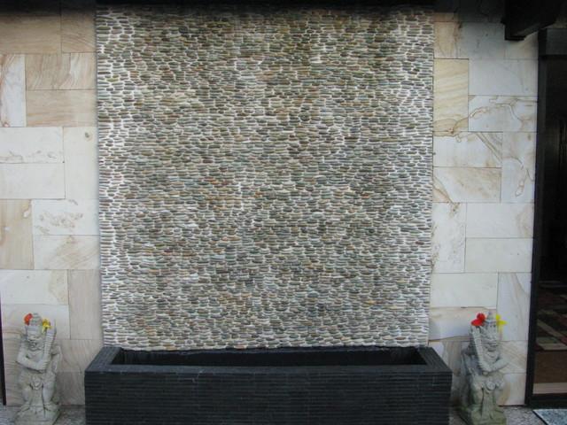 Zen Paradise Standing Pebble Tile Installations asian-landscape