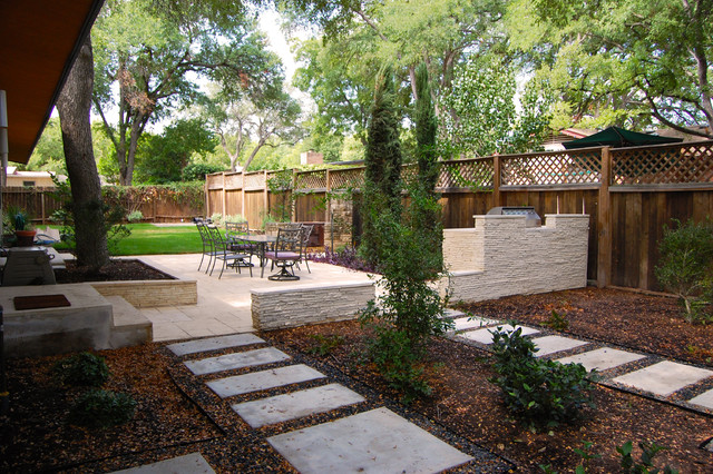 Zilker park backyard contemporary landscape austin for Modern landscape architecture