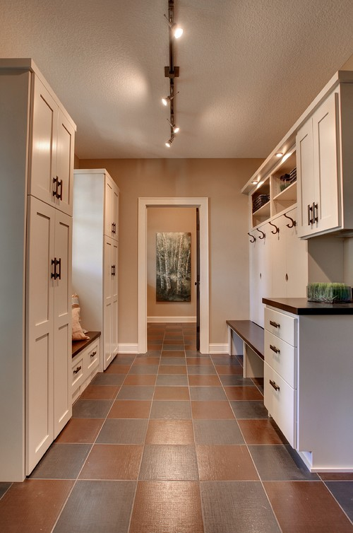 A Track Light Is Smart Idea For Mudroom Photo Credit Traditional Laundry