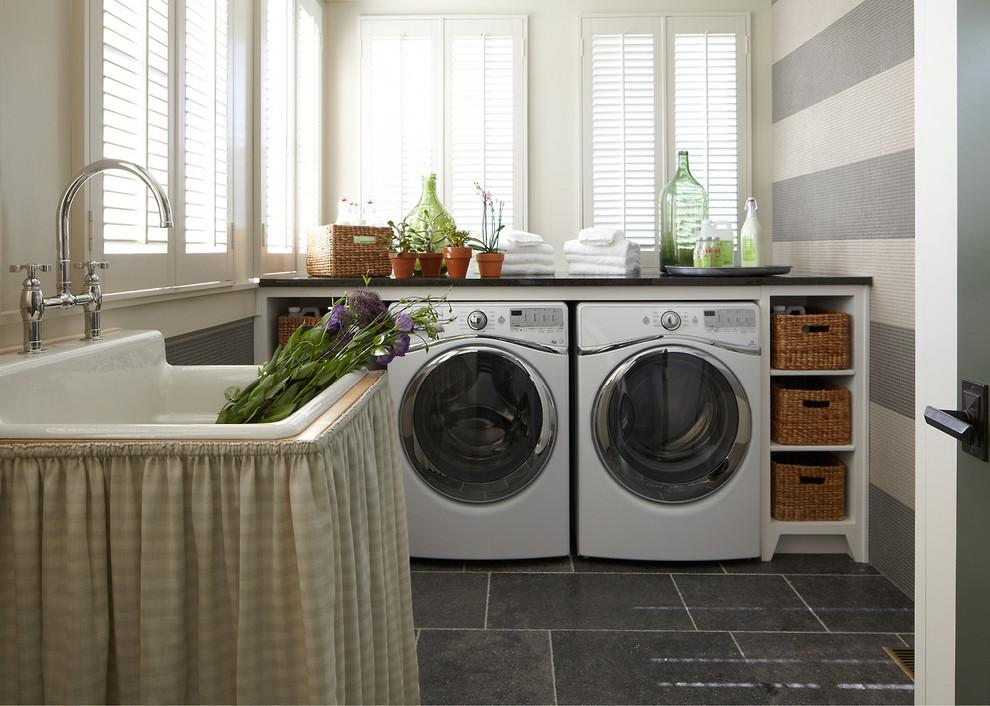 Elegant gray floor laundry room photo in Nashville