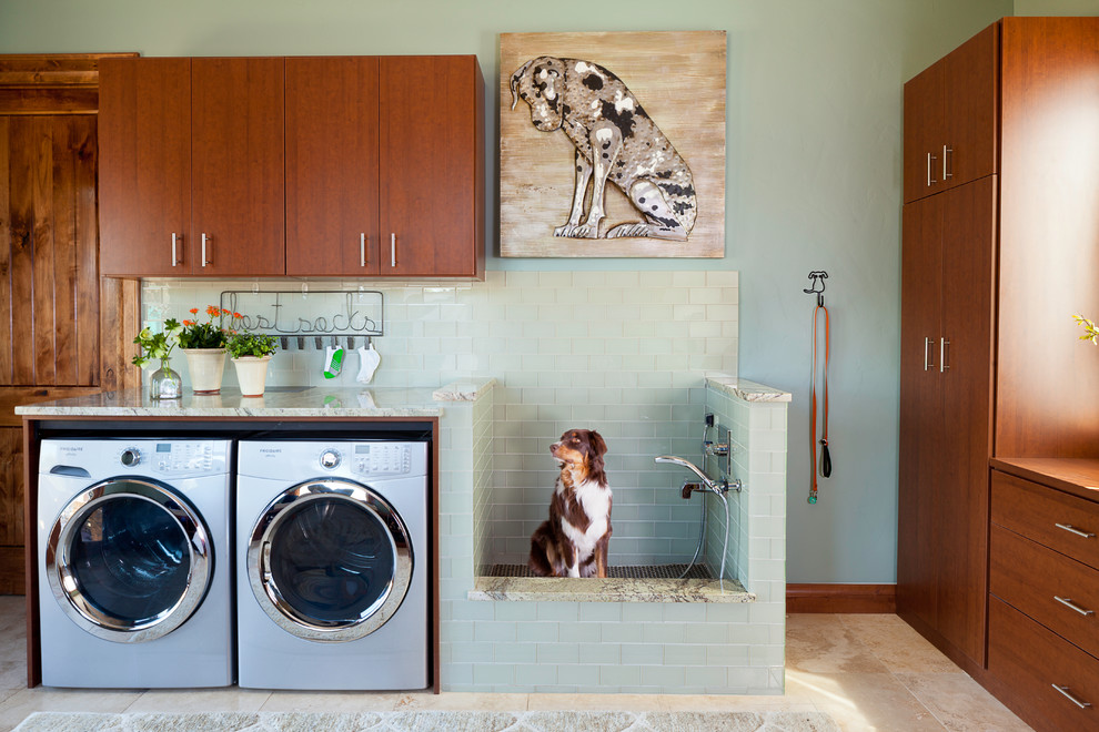 Inspiration for a rustic l-shaped beige floor laundry room remodel in Denver with flat-panel cabinets, a side-by-side washer/dryer and beige countertops