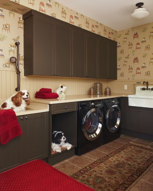 Combination pet bed and little dog sink shower area in the laundry room