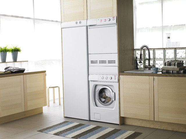 Example Of A Minimalist Laundry Room Design In Dallas