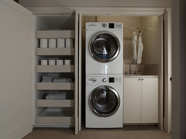 Inspiration For A Small Contemporary Single Wall Laundry Closet Remodel In San Francisco With