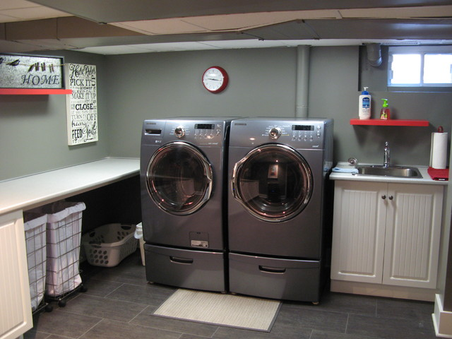 cool painting ceiling idea - Basement Traditional Laundry Room montreal by