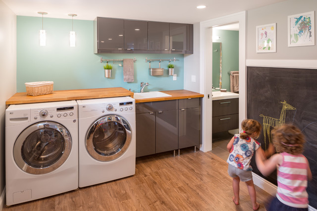 Basement Laundry Room Interior Remodel Basement Laundry And Bath Remodel Contemporary Laundry Room