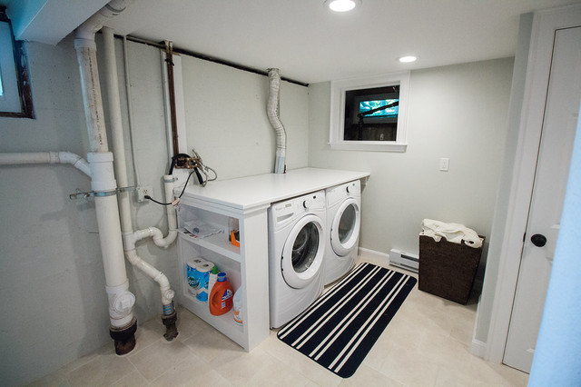 Basement remodel traditional laundry room boston Basement laundry room remodel