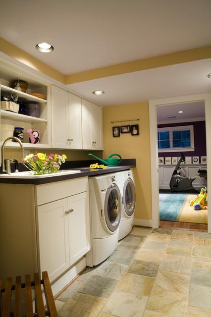 Basement renovation bedroom playroom bathroom laundry for Laundry room office