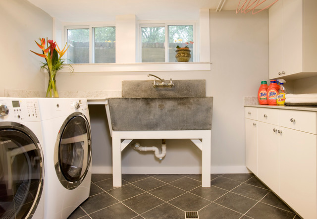 basement renovation - traditional - laundry room - boston -