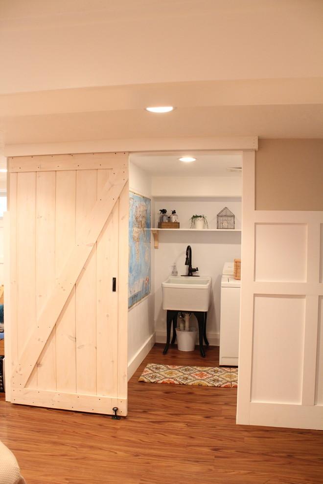 Elegant laundry room photo in Boston