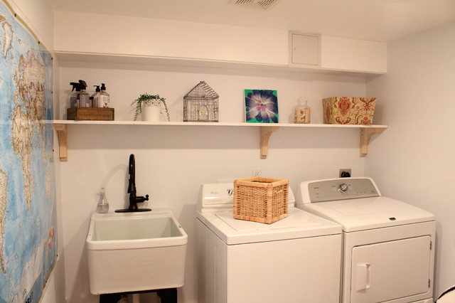 basement renovation - traditional - laundry room - boston -no
