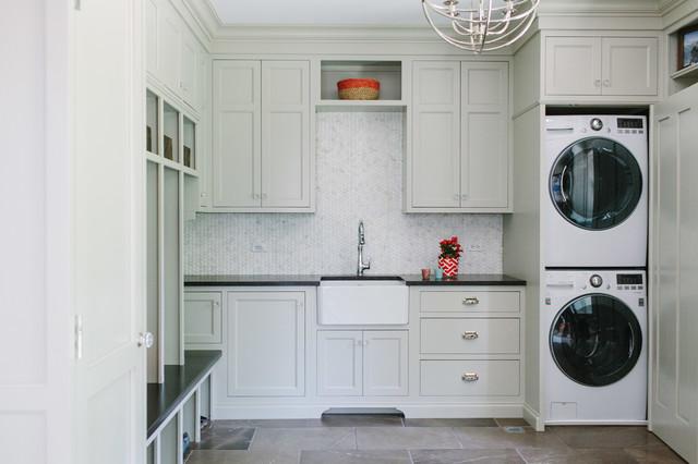 Beautiful Gray Laundry Room Transitional Laundry Room