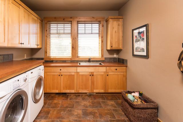 Brasada Ranch home design single story with media room over garage - Rustic - Utility Room ...