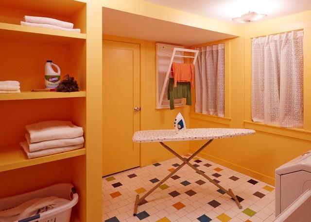 bright basement laundry room contemporary laundry room