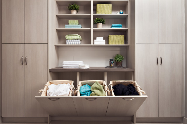 Built In Laundry Hampers Contemporary Room