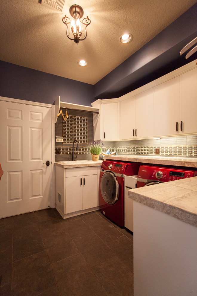 Large eclectic galley ceramic tile dedicated laundry room photo in Portland with flat-panel cabinets, white cabinets, purple walls and a side-by-side washer/dryer