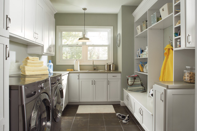 Beautiful Inspiration For A Transitional Gray Floor Laundry Room Remodel In  Birmingham With White Cabinets