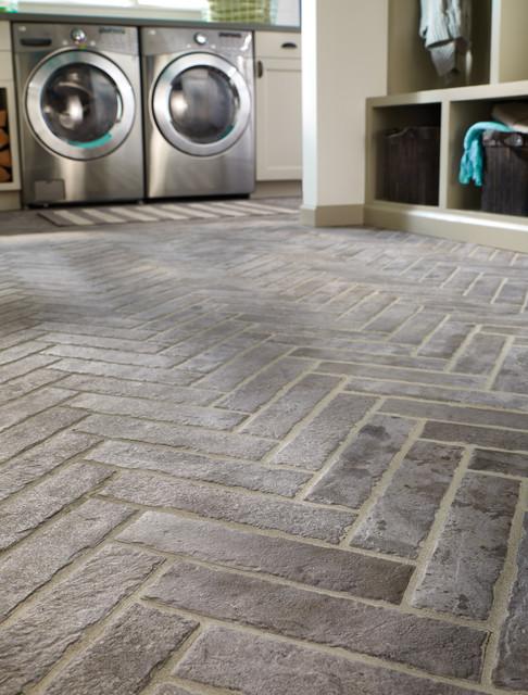Capella Taupe Brick Contemporary Laundry Room Orange