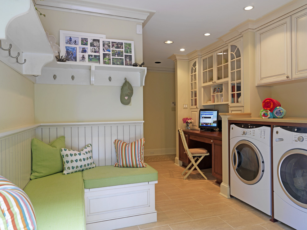 Inspiration for a timeless utility room remodel in DC Metro with beige cabinets and a side-by-side washer/dryer