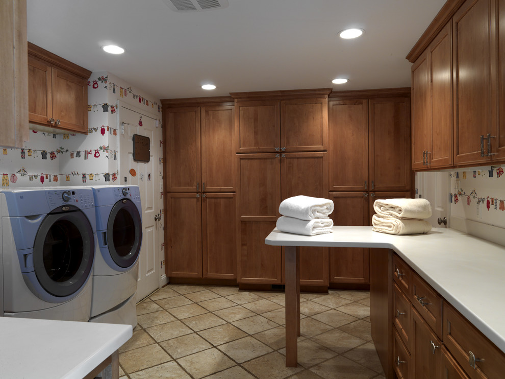 Elegant laundry room photo in DC Metro with a side-by-side washer/dryer and white countertops