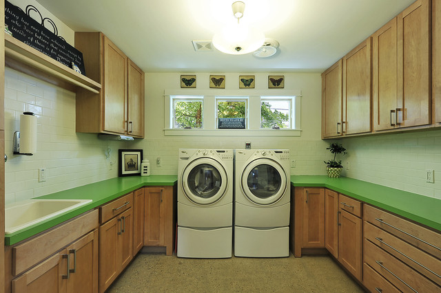 Central Austin Residence: Interior transitional-laundry-room