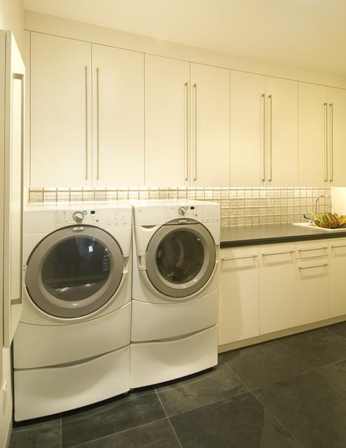modern laundry room flooring | Clean & Fresh Laundry - Modern - Laundry Room ...