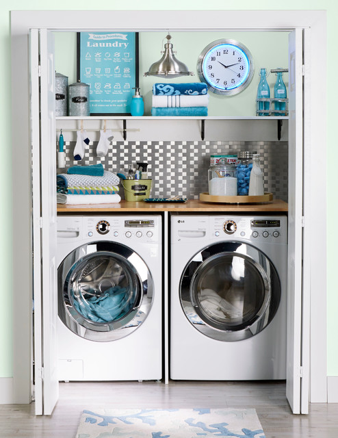 Closet laundry transitional laundry room charlotte for Lavanderia francese
