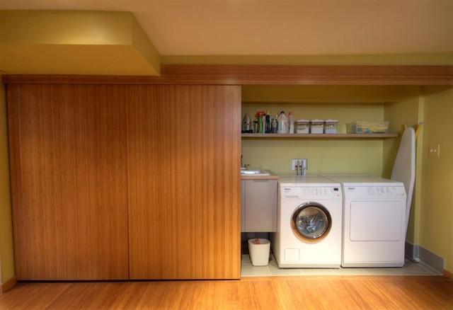 Contemporary sliding door contemporary laundry room for Laundry room sliding doors