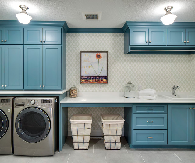 Room Of The Day Bold Blue Hub For Laundry And Crafts