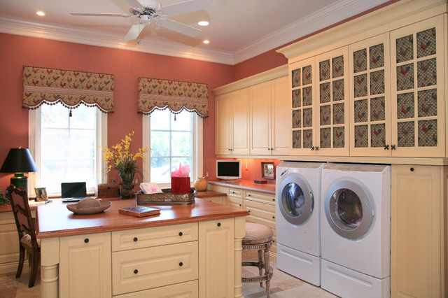 Country French Estate Traditional Laundry Room