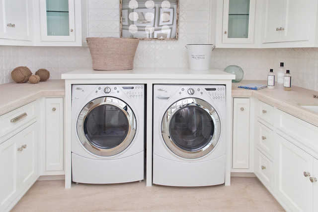 Cozy Coastal Beach House - Beach Style - Laundry Room - orange county - by Bliss Home & Design