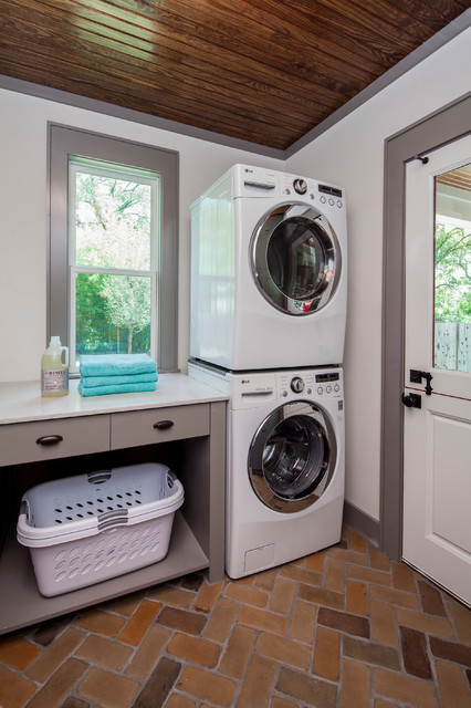 Craftsman Revived Transitional Laundry Room Austin