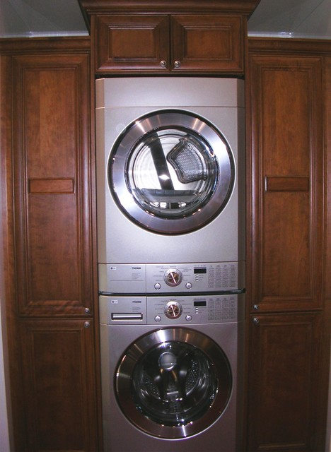 double stacker laundry room wiht built in storage