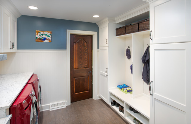 Dublin ohio mudroom half bath remodel transitional for Bathroom mudroom combo