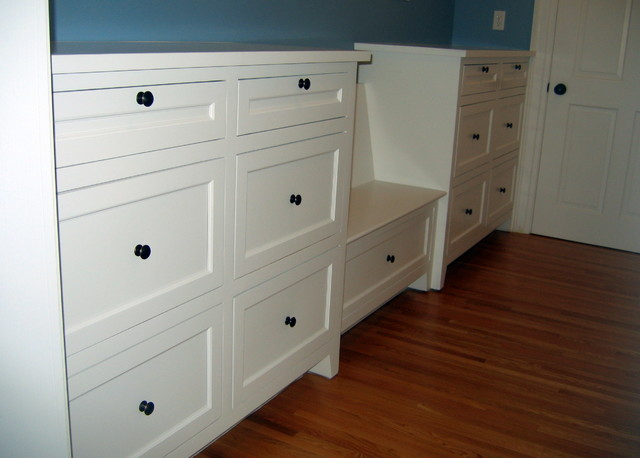 Enameled cabinets: Mudroom lockers, built in bookcases. Full inset cabinets