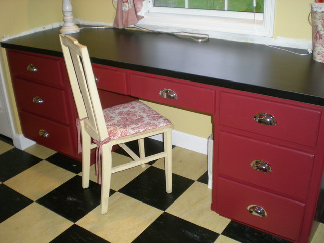 Toile Laundry Room Ideas: French Country Mud Laundry Room Yellow/Red Toile