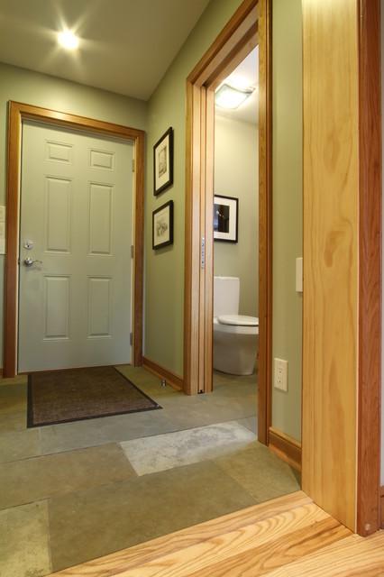 Garage Entry Guest Half Bath With Pocket Door