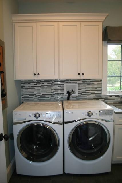 Glass mosaic tile backsplash transitional-laundry-room