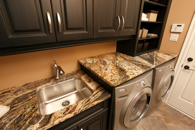 Utility Sink With Countertop : Granite Laundry Room traditional-laundry-room