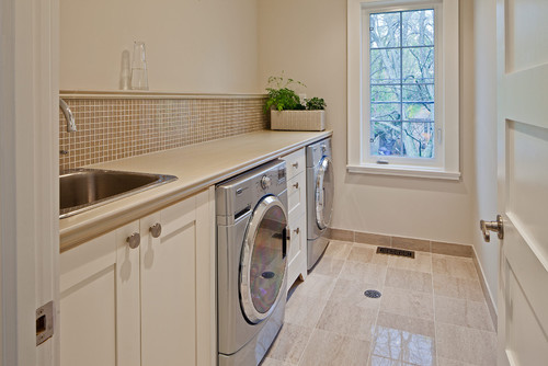 Beautiful laundry room! What is the height of the counter on top of ...