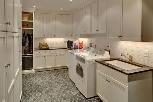 Hatra hex laundry room floor traditional laundry room - Laundry room flooring ideas ...
