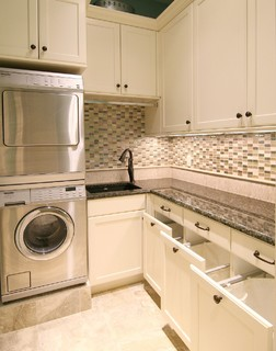 Built-in laundry room hampers