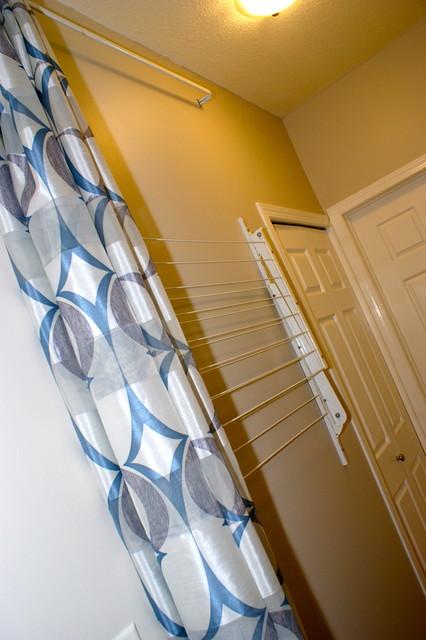 Hidden Clothes Line Contemporary Laundry Room Calgary
